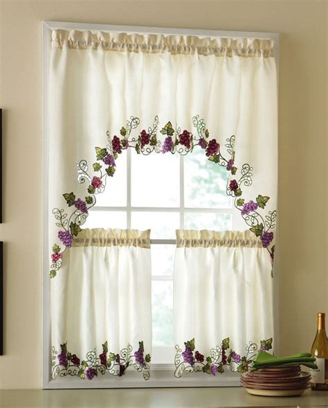 Vineyard Grapes Embroidered Kitchen Curtains & Valance