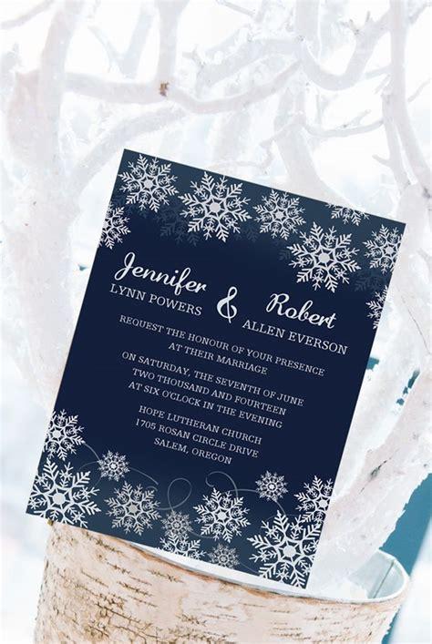 snowflake inspired navy blue winter wedding invitations