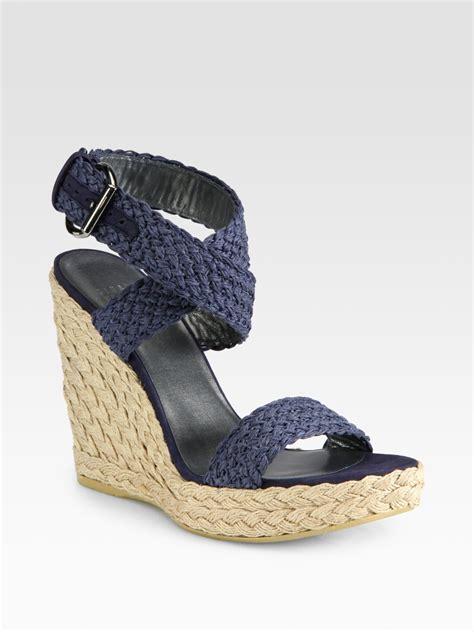 lyst stuart weitzman alex espadrille wedge sandals  blue