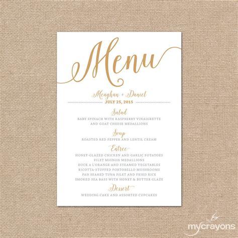 menu card template gold wedding menu card printable wedding menu script