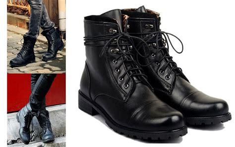Tiding Genuine Leather Short Boots Men Fashion Black Shoes