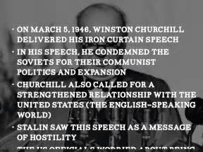 winston churchill delivers iron curtain speech definition the cold war by hjones