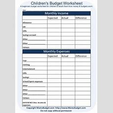 Free Printable Kid's Budget Worksheet Blue For Boys And Pink For Girls Budgetingfrugality