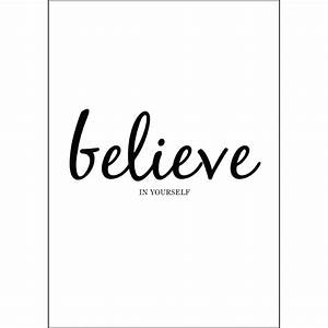 """Believe Yourself"" Motivation Quote White Background and"