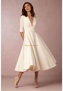 robe de mariee satin manches mi longue col en v seduisant With robe de mariée mi longue