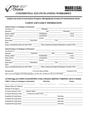 Confidential Estate Planning Worksheet  Ward Legal Group Pc Fill Online, Printable, Fillable