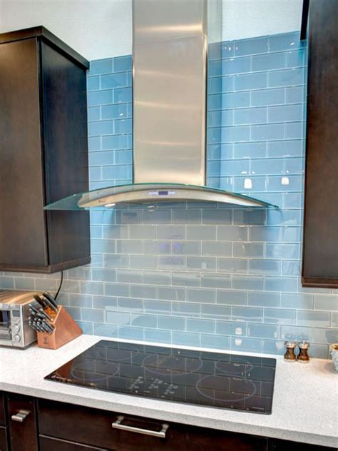 blue glass backsplash kitchen modern blue tile backsplash and hgtv 4808
