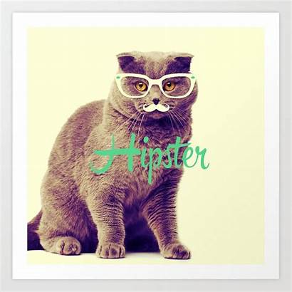 Cat Funny Glasses Mustache Turquoise Hipster Prints