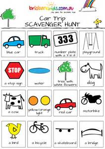 Car Trip Scavenger Hunt Printable