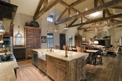 barndominium interiors kitchen rustic  wood floor