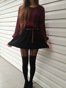 Sweater tumblr hipster skirt cute outfit shoes back to school tights