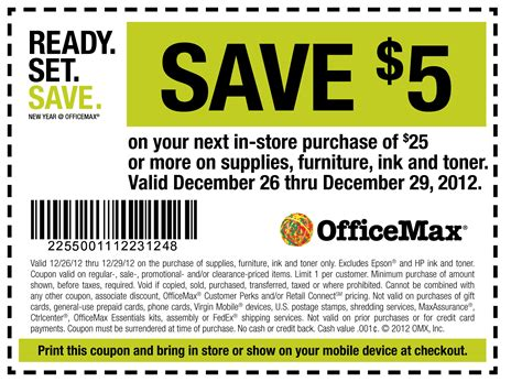 Office Depot Coupons December 2012 by Officemax Save 5 Or More Printable Coupon Print Coupon King