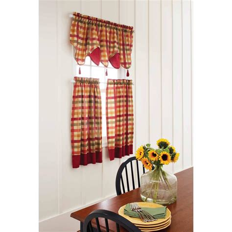 better homes and gardens kitchen curtain set checks in