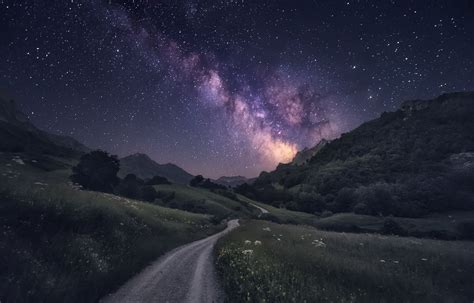 Wallpaper Trees Landscape Mountains Galaxy Nature