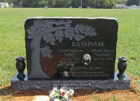 bassham with carved tree etching headstonein granite