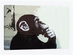 Urban Outfitters Decor by The Thinker Monkey Canvas Art Print By Banksy Icanvas