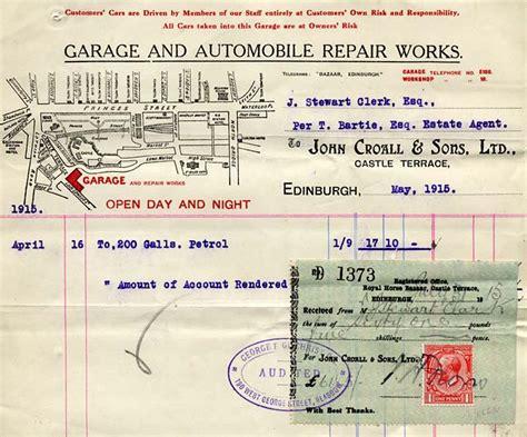 Bills Garage by Croall Sons Ltd Castle Terrace 1915 Bill
