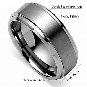 King will 8mm polished beveled edge matte brushed finish for Brushed beveled edge wedding ring