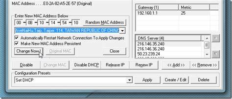 amac address change change network mac address with technitium mac address changer
