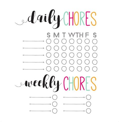 weekly chore chart template how to make schedule using 5 chore list template types