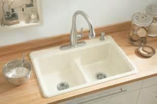 kohler kitchen sinks faucets kohler k 5838 4 7 deerfield smart divide self kitchen sink with equal basins and