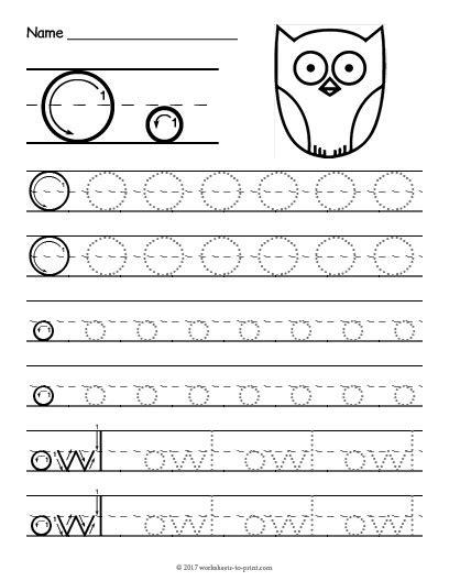 tracing letter o worksheet