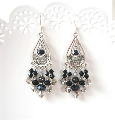 rubymae black chandelier earrings felt