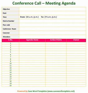 meeting agenda template save word templates With conference call meeting agenda template