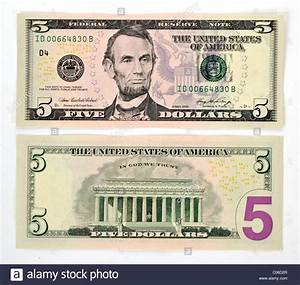 5 U.S. dollar banknote, front and back Stock Photo ...
