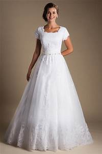 modest ball gown short sleeve white tulle lace wedding With short sleeved wedding dresses