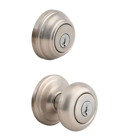 kwikset juno satin nickel exterior entry knob and single