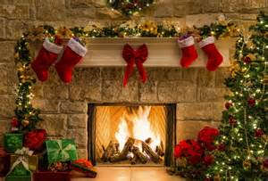 wallpaper christmas new year gift fireplace fire christmas tree desktop wallpaper