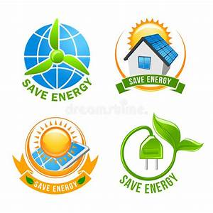 Save Energy  Solar  Wind  Eco Power Symbol Set Stock Vector