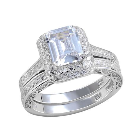 platinum plated wedding ring bridal sets emerald cut cz engagement band classic jewelry for