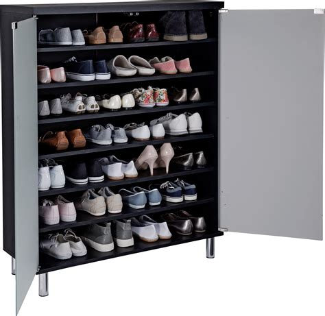 home milan frosted glass door shoe storage cabinet black