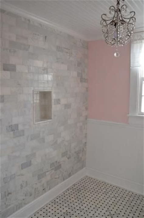master shower subway tile m s international inc 3 in x 6 in grecian white marble floor