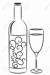 Wine Bottle Glass Drawing Line Coloring Pages Outline Bottles Illustration Drawings Painting Templates Stencils Depositphotos Vector Stencil Draw Printable Template sketch template