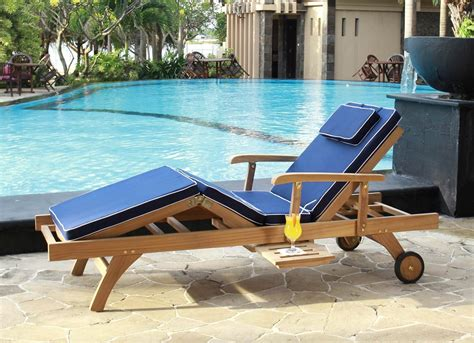 teak sun lounger white navy or green cushion casa