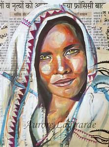 Peinture Visage Femme : portrait de voyage en inde peinture et collage portrait voyage peinture pinterest voyage ~ Melissatoandfro.com Idées de Décoration