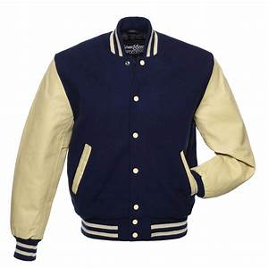 new navy blue wool and natural leather varsity letterman With varsity letter man jacket