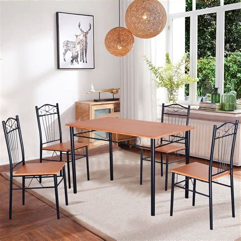 Modern 5 Piece Dining Set Breakfast Wood Metal 4 Chairs