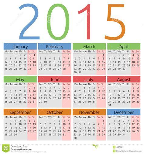 calendar colors vector calendar 2015 colors for seasons stock vector
