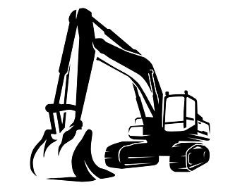 excavator silhouette etsy