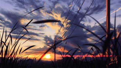 wallpaper anime landscape sunset scenic grass painting