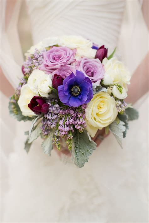 Cream Lavender And Plum Bouquet  Elizabeth Anne Designs