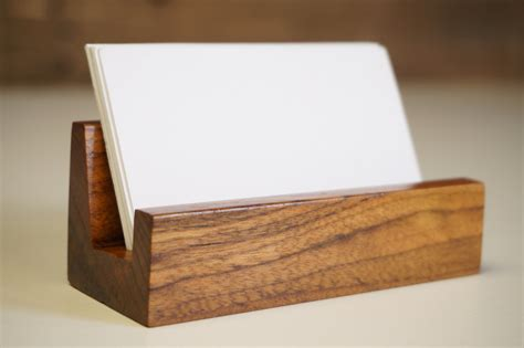 wooden business card holder for desk business card holder business card stand rustic office