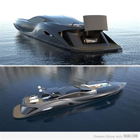 Gray Luxury Yacht With Garage For Car  Private Jets