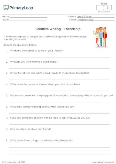 pshe creative writing friendship worksheet