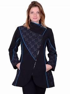 Manteau Femme Petite Taille : manteau femme hiver ethnique noir bleu motif graphique ~ Melissatoandfro.com Idées de Décoration