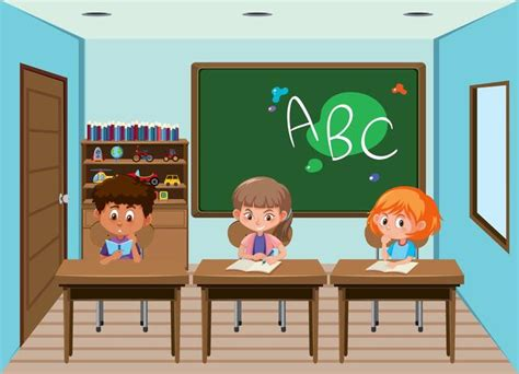 students working  desks   classroom